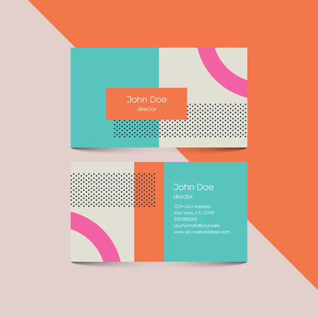 Illustration pour Business card template with abstract retro 80s background, geometric shapes and pattern. vector illustration. - image libre de droit