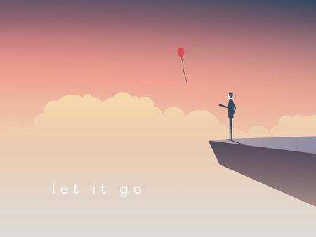 Ilustración de Businessman standing on a cliff letting go a balloon. Eps10 vector illustration. - Imagen libre de derechos