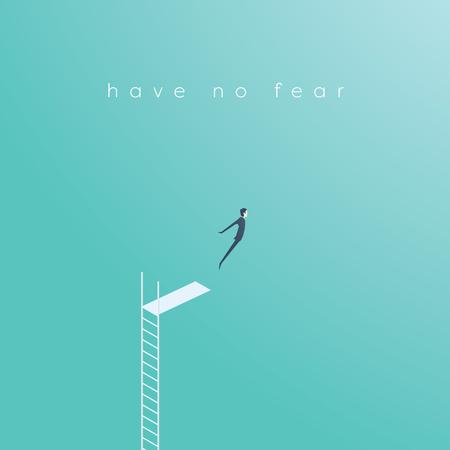 Ilustración de Business concept of courage, challenge, risk taking with businessman vector illustration jumping. - Imagen libre de derechos