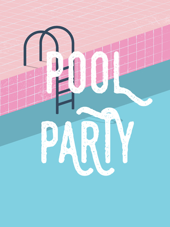 Illustration for Pool party in summer invitation poster template concept with retro style vector illustration and creative typography. - Royalty Free Image