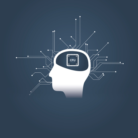 Foto für Artificial intelligence or ai concept with human or android head and cpu instead of brain. Future technology symbol of robotization and automatization. - Lizenzfreies Bild