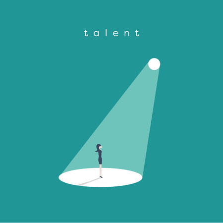 Illustration pour Business recruitment or hiring vector concept. Looking for talent. Businesswoman standing in spotlight or searchlight looking for new career opportunities. - image libre de droit