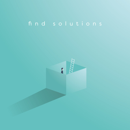 Illustration pour Business vector concept of finding solution by thinking outside the box. Creative problem solving, overcome obstacles, challenges symbol. Eps10 vector illustration. - image libre de droit