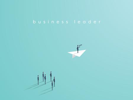 Ilustración de Business leadership concept with businessman flying on a paper plane as symbol of success, ambition, inspiration. Eps10 vector illustration. - Imagen libre de derechos