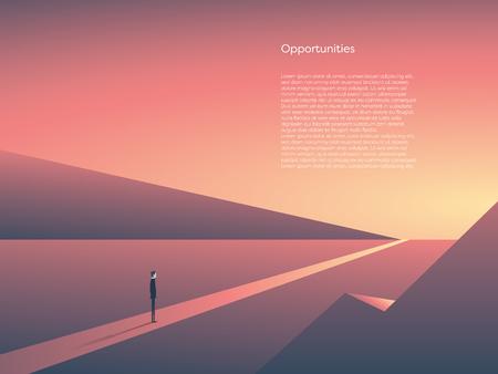 Ilustración de Business vector concept of new beginnings, opportunity and adventure. Symbol of career change, start, goals. Eps10 vector illustration. - Imagen libre de derechos