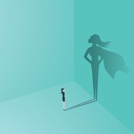 Ilustración de Businesswoman with superhero shadow vector concept. Business symbol of emancipation, ambition, success, motivation, leadership, courage and challenge. - Imagen libre de derechos