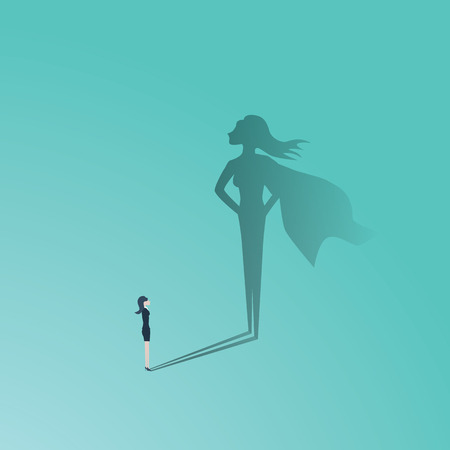 Illustration for Business woman superhero vector concept. Businesswoman with superhero shadow. Symbol of confidence, leadership, power, feminism and emancipation. - Royalty Free Image
