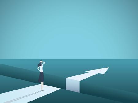 Ilustración de Business challenge and solution vector concept with businesswoman standing over big gap. - Imagen libre de derechos