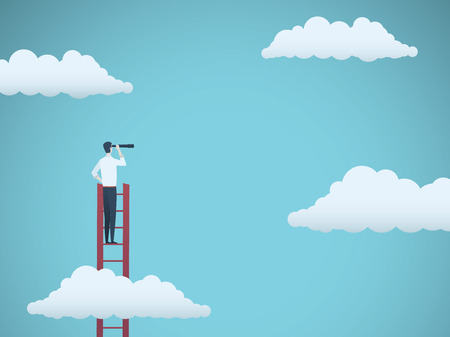 Foto für Business vision vector concept with business man standing on top of ladder above clouds. Symbol of new opportunities, career ladder, visionary, success, promotion. - Lizenzfreies Bild