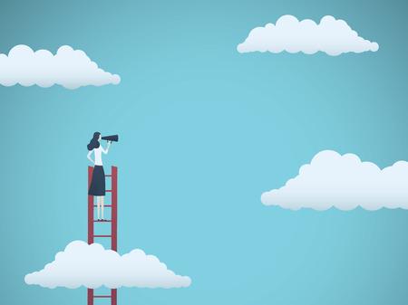Illustration pour Public speaker or business leader vector concept. Businesswoman speaking through megaphone on a ladder. Symbol of motivation, challenge, ambition. Eps10 vector illustration. - image libre de droit