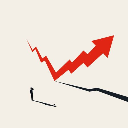 Illustration pour Financial markets recovery vector concept with arrow rising after fall. Symbol of hope, success and growth. Positive financial outlook after recession, crisis. Eps10 illustration. - image libre de droit