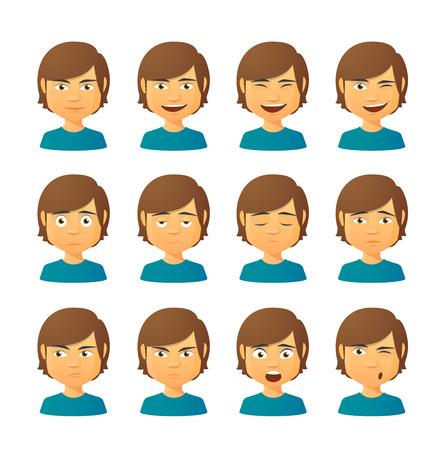 Illustrazione per Isolated set of male avatar expressions - Immagini Royalty Free