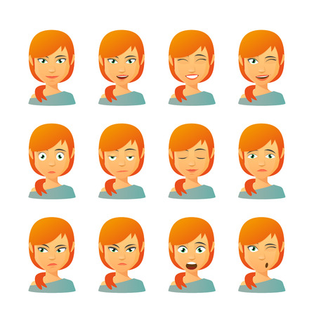 Ilustración de Isolated set of female avatar expressions - Imagen libre de derechos