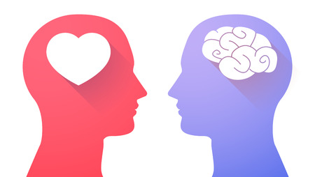 Illustration pour Illustration of an isolated head set with a brain and a heart - image libre de droit