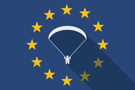 Illustration of an European Union long shadow flag with a paraglider