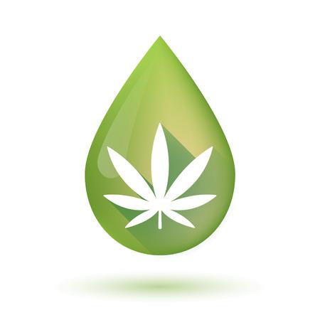 Ilustración de Illustration of an isolated olive oil drop icon with a marijuana leaf - Imagen libre de derechos