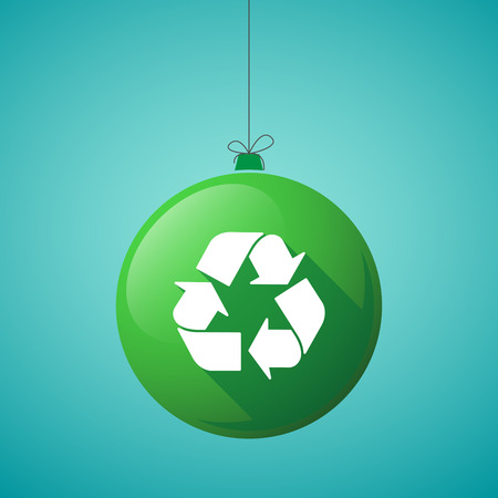 Ilustración de Illustration of a long shadow christmas ball icon with a recycle sign - Imagen libre de derechos