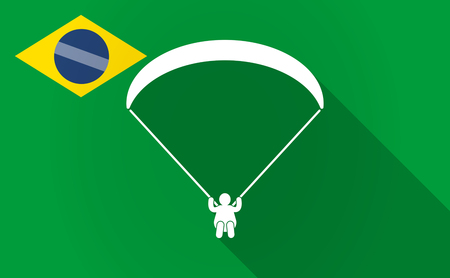 Illustration of a long shadow Brazil flag with a paraglider