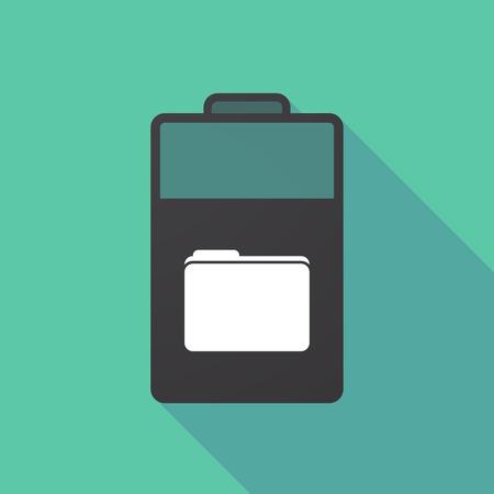Ilustración de Illustration of a long shadow battery with a folder - Imagen libre de derechos