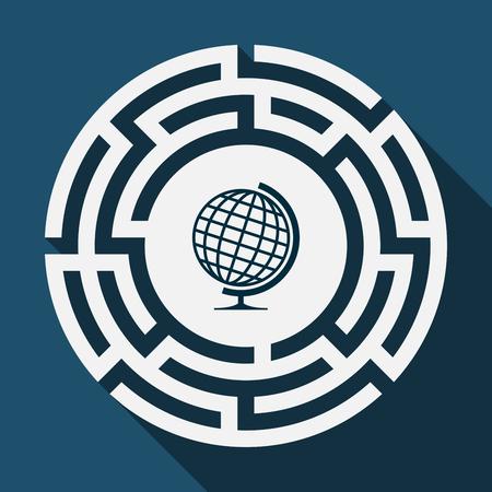 Ilustración de Illustration of a long shadow labyrinth with  a table world globe - Imagen libre de derechos