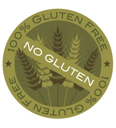 Wheat Grain Stalk with 100  Gluten Free Label Illustration