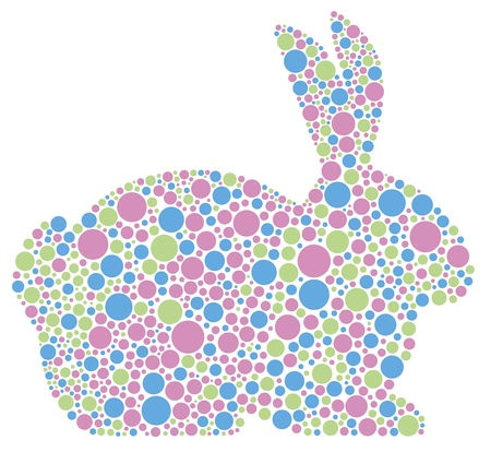 Bunny Rabbit Silhouette in Pastel Colors Polka Dots Illustration Isolated on White Background