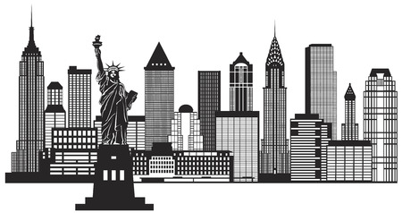 Illustration for New York City Skyline with Statue of Liberty Black and White Outline Illustration - Royalty Free Image