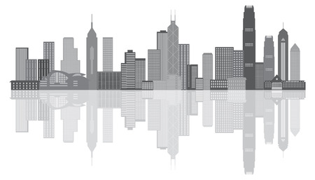 Illustration pour Hong Kong City Skyline Panorama Grayscale Isolated on White Background Illustration - image libre de droit