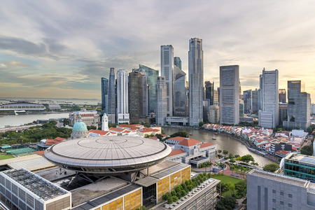 Photo for Singapore Central Business District along Singapore River city skyline - Royalty Free Image