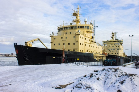 Photo pour Voima and Urho, two State-owned Diesel-electric icebreakers of the Finnish Fleet in the island of Katajanokka, Helsinki, Finland - image libre de droit
