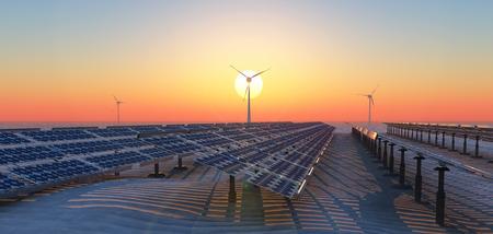 Photo pour concept illustration of sustainable energy, solar panels and windmills - image libre de droit