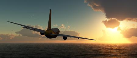 Foto de sunset and passenger plane in 3d - Imagen libre de derechos