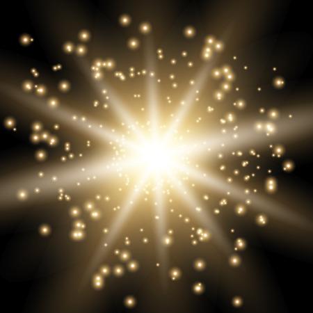 Ilustración de Star burst with sparks, light effect on black background, golden color - Imagen libre de derechos