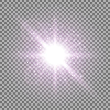 Ilustración de Light circle with stardust, glowing light with sparks on transparent background, light effect, purple color - Imagen libre de derechos