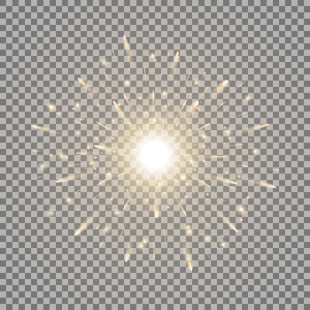 Ilustración de Glowing light with sparks, star burst with sparkles on transparent illustration. - Imagen libre de derechos