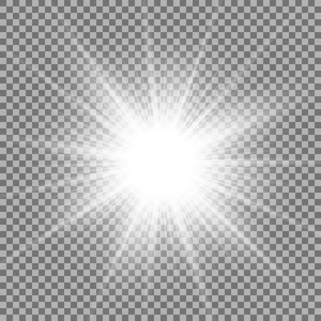Ilustración de Sunlight with lens flare effect, shining star on transparent background, light effect, white color - Imagen libre de derechos