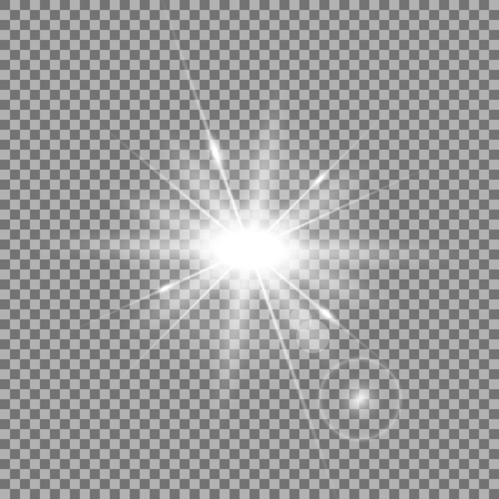 Ilustración de Vector light lens flare, rays of light with glare on transparent background, light effect, white color - Imagen libre de derechos