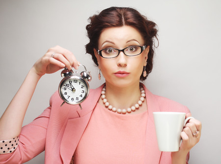 Photo for Young funny businesswoman having a coffee-break - Royalty Free Image