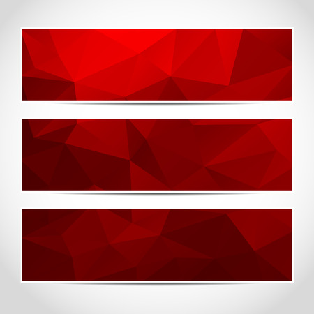 Illustration pour Set of trendy red vector banners template or website headers with abstract geometric background. Vector design illustration EPS10 - image libre de droit