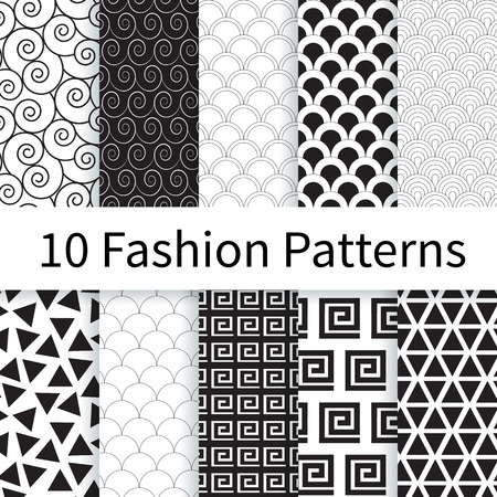Illustration pour 10 Geometric Fashion different vector seamless patterns. Endless texture can be used for wallpaper, pattern fills etc. - image libre de droit