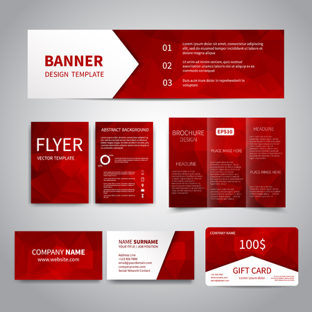Foto de Banner, flyers, brochure, business cards, gift card design templates set with geometric triangular red background. Corporate Identity set, Advertising, Christmas party invitation promotion printing - Imagen libre de derechos