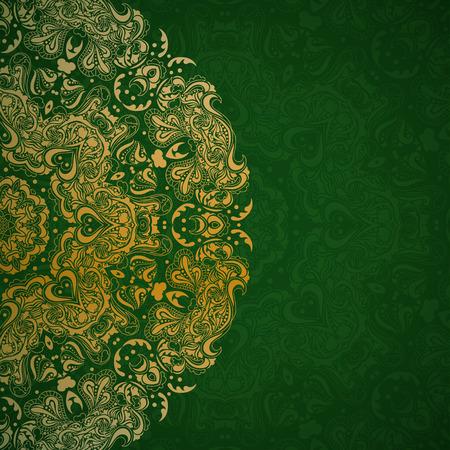 Ilustración de Gold mandala in ethnic style on a green background - Imagen libre de derechos