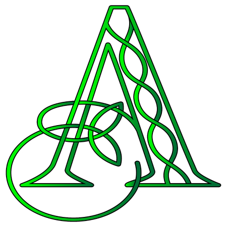 Illustration for Initial letter A in Celtic style with knot of shamrock - Royalty Free Image