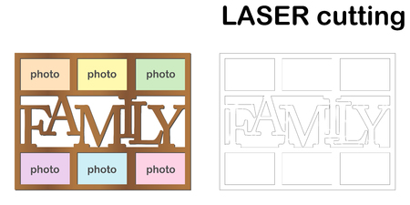 Ilustración de Frame for photos with inscription 'Family' for laser cutting. Collage of photo frames. Template laser cutting machine for wood and metal - Imagen libre de derechos