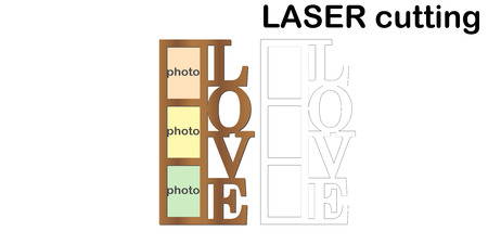 Ilustración de Frame for photos with inscription 'Love' for laser cutting. Collage of photo frames. Template laser cutting machine for wood and metal. The perfect gift for St. Valentine's Day. - Imagen libre de derechos