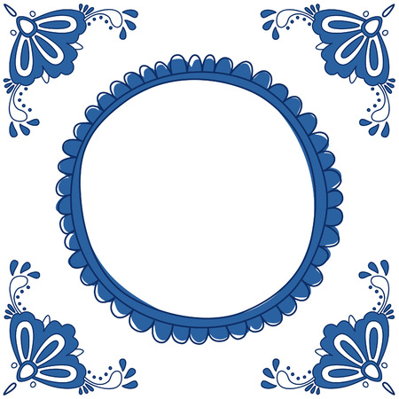 Illustration pour Dutch Delft blue tile with a place for a text or picture. EPS 10. No trasparency. No gradients. - image libre de droit