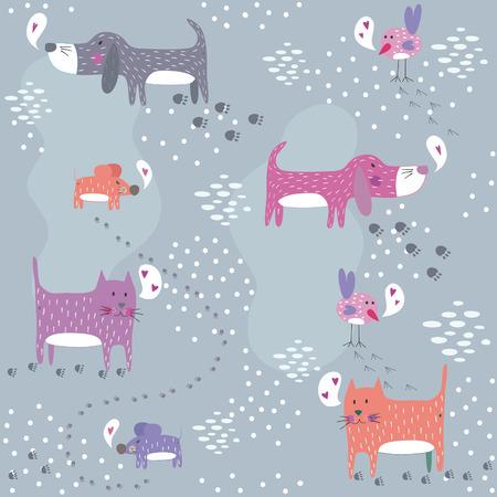 Ilustración de Funny seamless pattern with cute animals.   - Imagen libre de derechos