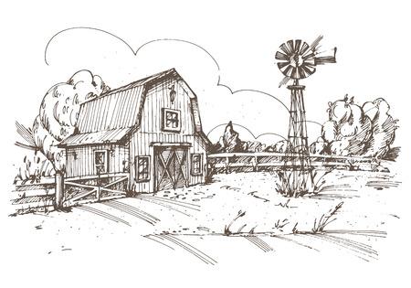 Ilustración de Hand drawn illustration of farmhouse. - Imagen libre de derechos