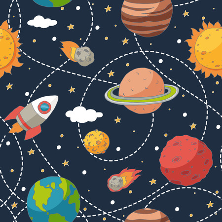 Illustration pour Seamless pattern with planets and the sun. EPS 10. Transparency. No gradients. - image libre de droit