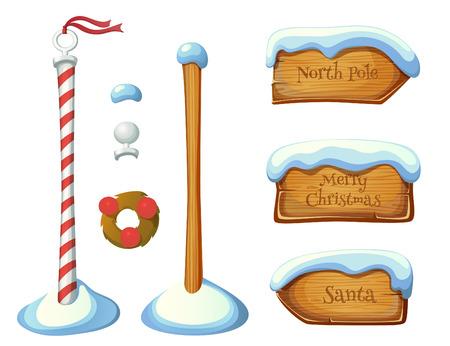 Illustration pour Wooden sign post elements. Christmas set. EPS 10. Transparency. Gradients. - image libre de droit